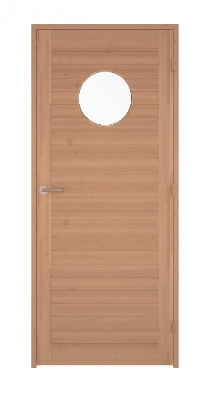 f29c49fbb Dřevěné interiérové dveře s kulatým oknem 7x21 olše - Sauna.cz